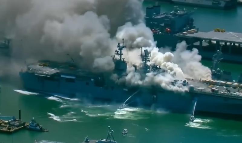 Взрив избухна на боен кораб на Съединените щати.